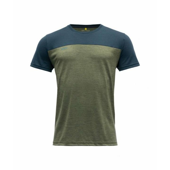 Pánske vlnené tričko s krátkym rukávom Devold Norang GO 180 213 B 404A zelená