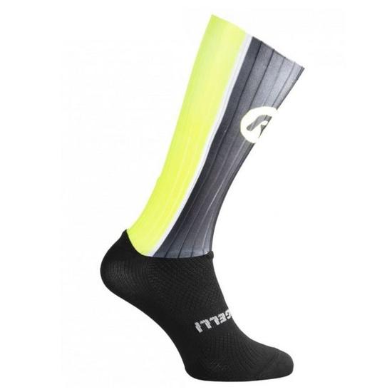 aerodynamické funkčnou ponožky Rogelli AERO, čierno-šedo-reflexná žlté 007.005.