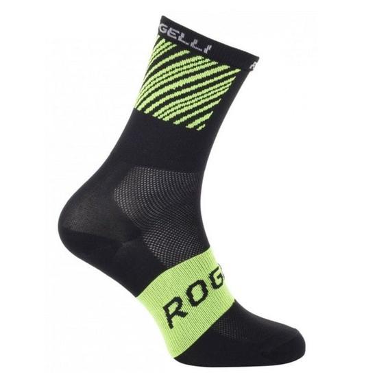 Antibakteriálny ponožky s miernu kompresiou Rogelli RITMO, čierno-reflexná žlté 007.200