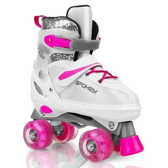 Spokey BUFF Trekové korčule regulovateľné, ABEC 5, bielo-ružové, veľ. 39-42