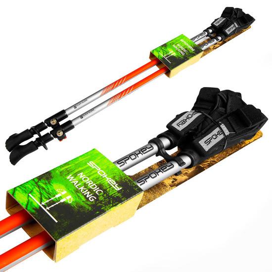 Spokey TIERRA Palice Nordic Walking 2-dílné, Easy click glove systém, čierno-oranžové