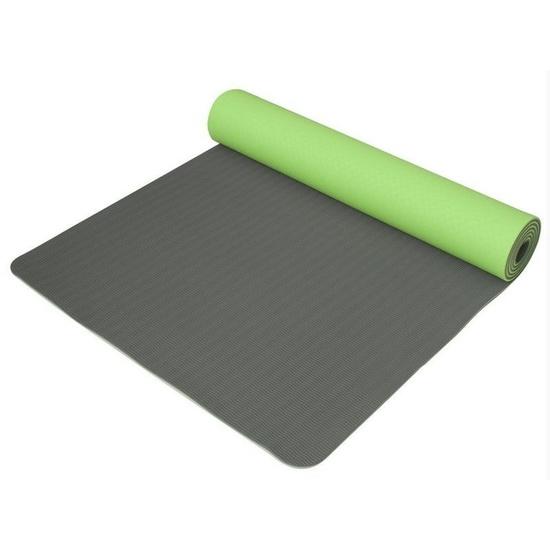 Podložka na jógu Yoga Mat dvojvrstvová, materiál TPE zelená / sivá