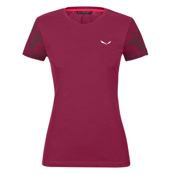 Dámske tričko Salewa Camou Sleeve Dry rhodo red melange 28260-6368