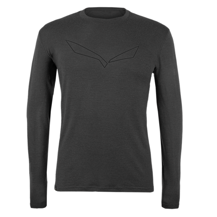 Pánske tričko Salewa pure logo merino responsive long Sleeve Tee black out 28262-0910