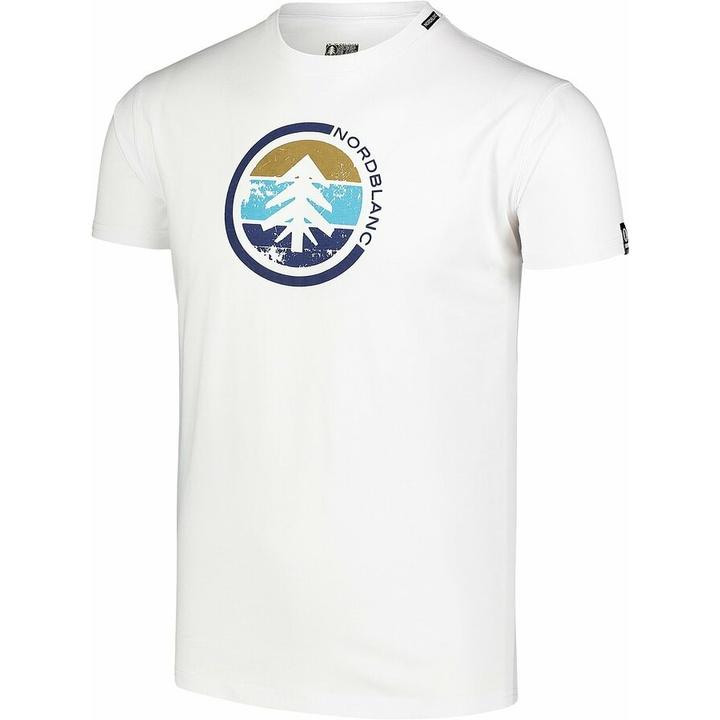 Pánske bavlnené tričko Nordblanc TRICOLOR biele NBSMT7397_BLA