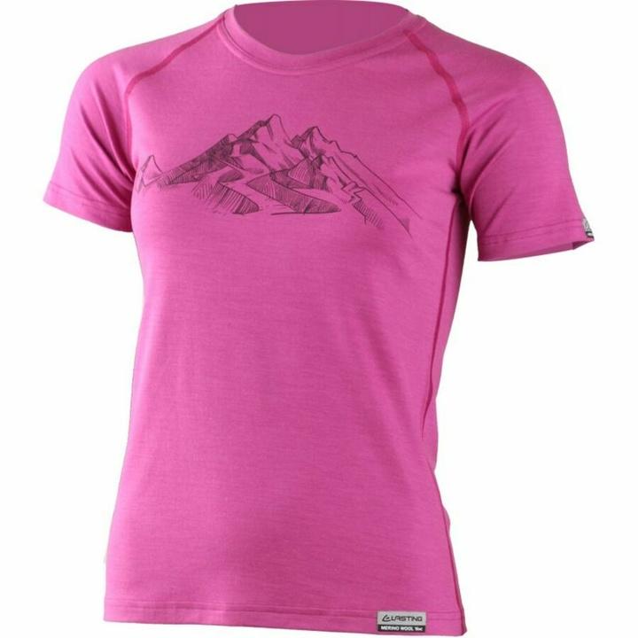 Dámske merino triko Lasting s tlačou Hila ružové