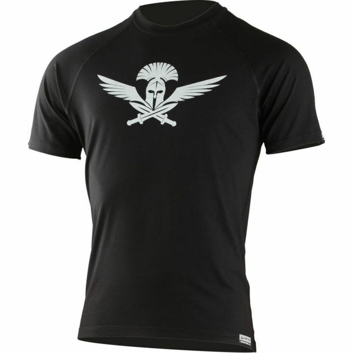 Pánske merino triko Lasting s tlačou Warrior čierne