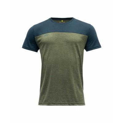 Pánske vlnené tričko s krátkym rukávom Devold Norang GO 180 213 B 404A zelené