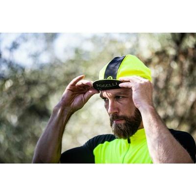 Cyklistická šiltovka pod helmu Rogelli RETRO, reflexne žlto-čierna 009.967, Rogelli