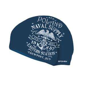 Plavecká čiapka Spokey STYLO modrá biele nápisy, Spokey