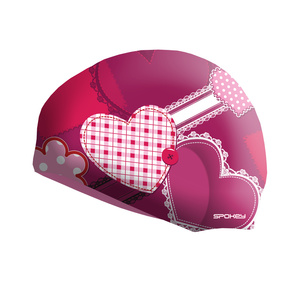 Detská plavecká čiapka Spokey STYLO Junior ružová srdce, Spokey