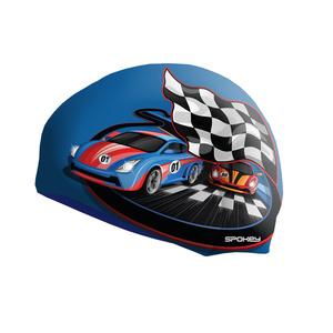Detská plavecká čiapka Spokey STYLO Junior modrá závodná auto, Spokey