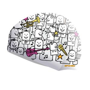 Plavecká čiapka Spokey STYLO biela kreslené postavičky, Spokey