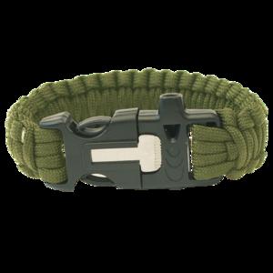Náramok HIGHLANDER Paracord trojzubec / píšťalka / kresadlo / olivový, Highlander