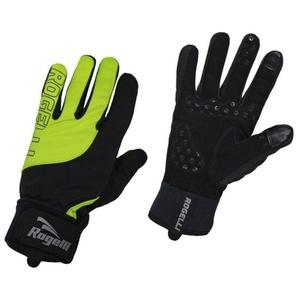 Pánske cyklistické rukavice Rogelli Storm, 006.125. čierne-reflexná žlté, Rogelli