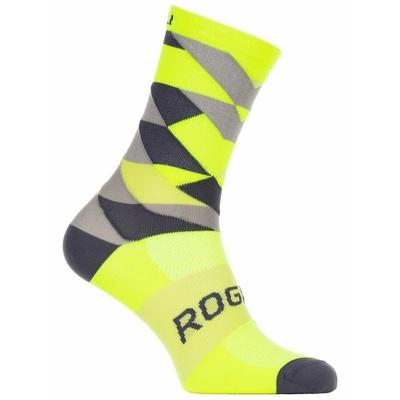 Dizajnové funkčnou ponožky Rogelli SCALE 14, reflexne žlté-čierno-šedé 007.152, Rogelli