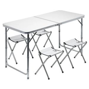 Stôl kempingový skladacia Cattara DOUBLE teleskop. šedý + 4x stolička, Cattara