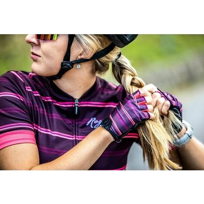 Dámske rukavice na kolo Rogelli STRIPE, vínovo-ružové 010.622, Rogelli