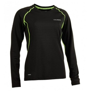 Dámske triko Salming Balance LS Tee Women Black / Sharp Lime, Salming