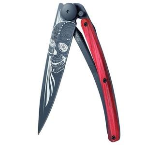 Vreckový nôž Deejo 1GB143 Black tattoo 37g, biker, red beech, Latino skull, Deejo