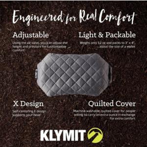 Nafukovací vankúš Klymit Luxe Pillow šedý, Klymit