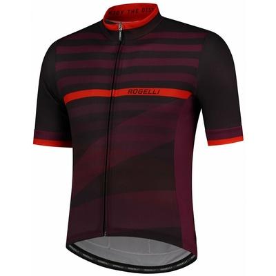 Cyklodres Rogelli STRIPE s krátkym rukávom, čierno-vínovo-červený 001.103, Rogelli