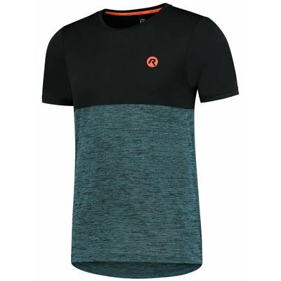 Pánske športové tričko Rogelli ESSENCE s krátkym rukávom, čierno-tyrkysové 830.246, Rogelli