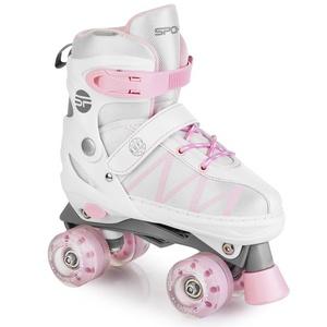 Trekingové korčule Spokey BUFF PRO nastaviteľné biela a ružová, Spokey