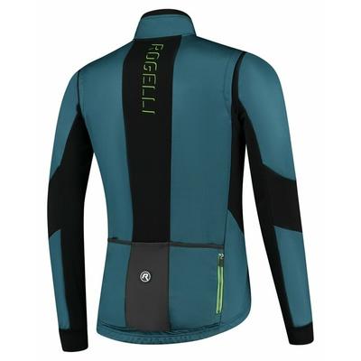 Pánska softshellová cyklobunda Rogelli Brave s priedušnými panely, modro-čierno-zelená ROG351026, Rogelli