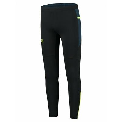 Pánske zateplené bežecké nohavice čierna-tmavo modrá-reflexná žltá ROG351101, Rogelli