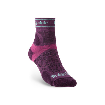 Ponožky Bridgedale TRAIL RUN UL T2 MS 3/4 CREW WQUEEN OF DARKNESS'S Damson/195, bridgedale
