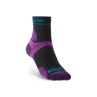 Ponožky Bridgedale TRAIL RUN UL T2 MS 3/4 CREW WQUEEN OF DARKNESS'S Charcoal/Purple/260, bridgedale