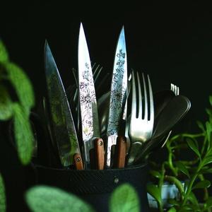 Deejo sada 6 stealpvácj nožov, lesklý povrch, olivové drevo, design 'kvety' 2AB010, Deejo