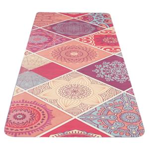 Podložka na jógu YATE yoga mat vzor A / ružová / prírodná guma, Yate