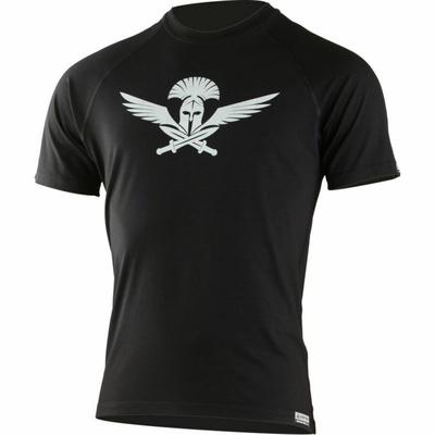 Pánske merino triko Lasting s tlačou Warrior čierne, Lasting
